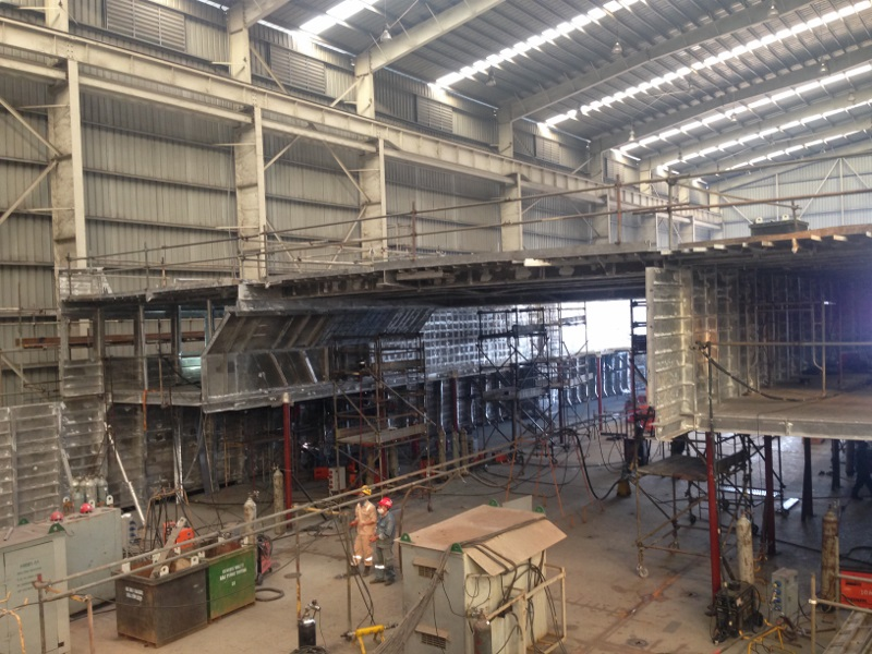 Looking aft along the passenger lounges. The covered section in the middle will be the sun lounge.